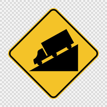Truck DownHill Warning sign on transparent background
