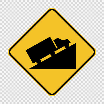 Steep Hill Ascent sign on transparent background