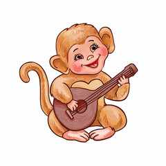 Cute little monkey plays the balalaika, small guitar or ukulele. Hand-drawn vector illustration of funny childish character