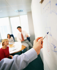 Detail of businesswoman using flip chart in office presentation