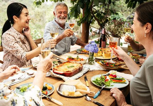 Friends having dinner in the garden