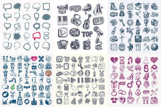mega big set of sketch drawing doodle icon collection