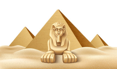 Vector Egypt pyramid and sphinx landmark realistic