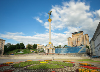 Independence Square (Maidan Nezalezhnosti) in Kiev, Ukraine