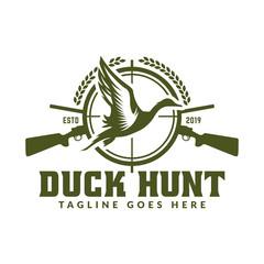 Hunting logo, hunt badge or emblem for hunting club or sport, duck hunting stamp