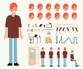 Young man character Ready for animation stop motion graphic. Mouth emotion set.