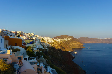 Beautiful landscape view from  Oia village, Santorini with clear blue sky