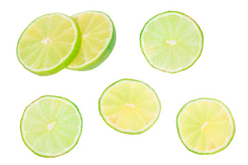 lime on white background. round lime