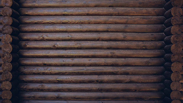 Dark colored wooden cabin wall texture background