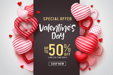 Valentines day vector promotional banner. Special offer text with red hearts elements in white background for valentines day discount promotion. Vector illustration.