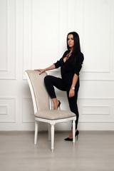 gorgeous woman in a black dress