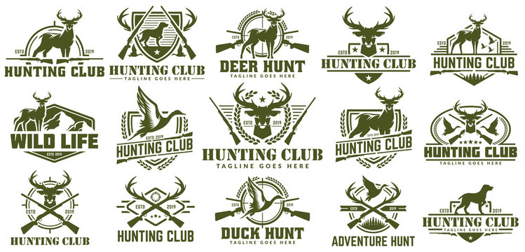 Collection of hunting logo, vector set of hunt label, badge or emblem, duck and deer hunt logo