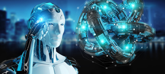White robot creating future technology structure 3D rendering