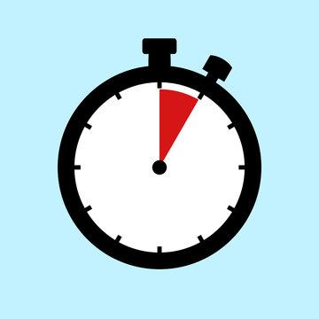 Stoppuhr Icon zeigt: 5 Minuten 5 Sekunden oder 1 Stunde