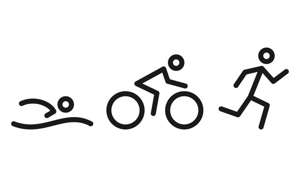 Triathlon activity icons - swimming, running, bike. Swimming, cycling and outdoor sports icons isolated on white background. Vector Illustration