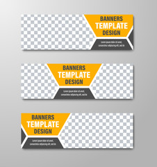 Wall Mural - Design of horizontal vector web banners with place for photo and dividing hexagon.