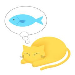 魚を想像するネコ
