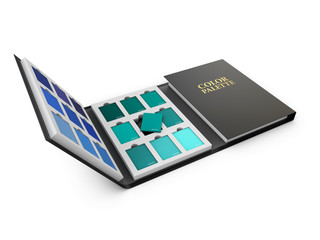 3d Illustration of color palette samples on white background