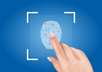 Vector graphics depicting the scanning of fingerprints ensuring access to security thanks to biometric identification.