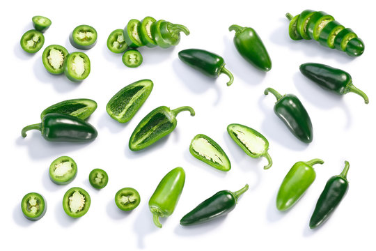 Jalapeno chiles whole sliced chopped, top, paths