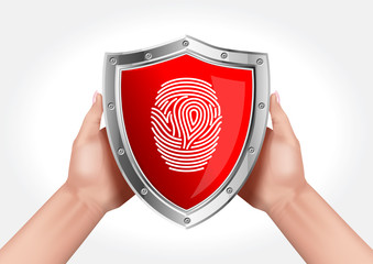 Hands holding a shield symbolizing data protection using a fingerprint.