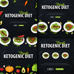 Set of Ketogenic Diet banners, Healty Keto food. Low carbs ketogenic diet food. Vector Illustration