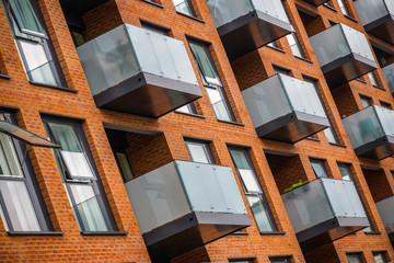 Pattern of modern mansion block around Hackney in London