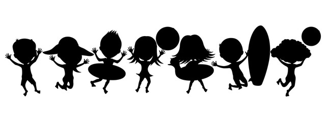 Cartoon silhouettes of children on a beach holiday.