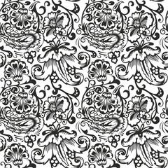 Seamless Russian pattern .Vintage Ornament vector. Russian style ornament engraving border floral retro pattern. Foliage swirl decorative design element filigree