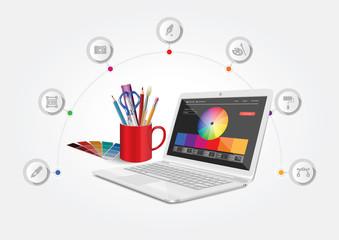 Vector design depicting a computer graphics workshop.