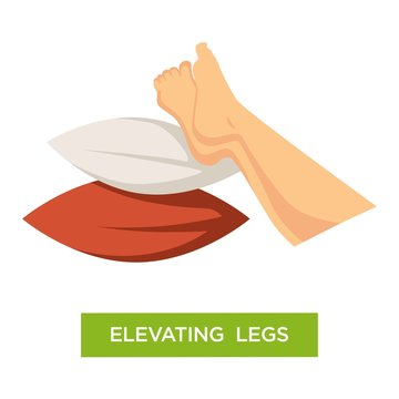 Elevating legs pillows pile comfort isolated icon