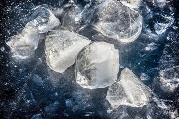 snow ice texture on the lake