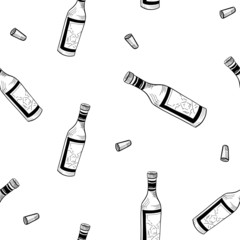 seamless vector pattern wine, wine bottles and glasses sketch, hand drawn, isolated on white background