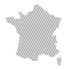 France map abstract schematic from black lines repeating pattern geometric background with rhombus and nodes from rhombuses. Vector illustration.