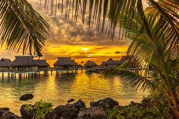 Coastline with a tropical beach and the turquoise water of the inner lagoon of the atoll of Tikehau at Sunset. Tuamotus archipelago, French Polynesia, south Pacific ocean.