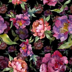 Purple peony floral botanical flower. Watercolor background illustration set. Seamless background pattern.