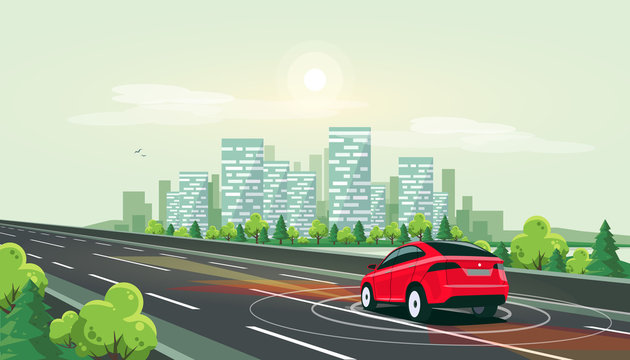 Vector illustration of smart autonomous driverless electric car driving on highway to downtown. Radar sensors scanning distance. Empty road traffic with city skyline riverside in background.