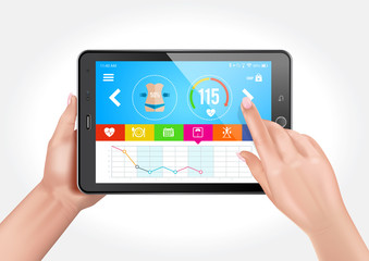 Vector design showing hands holding a tablet with a fitness app to control a healthy lifestyle