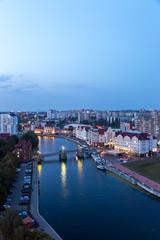 Fotobehang Las Vegas Twilight of the center of Kaliningrad. Jubilee Bridge, Fish Village, Channels of the Pregolya River. Russia