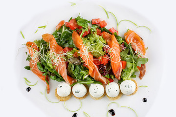 The salad with salmon and cottage cheese balls on a white background
