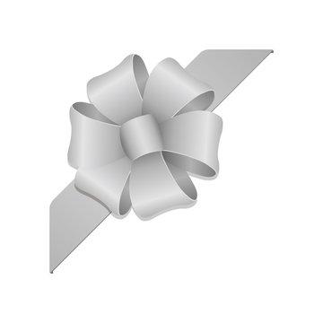 Flower loop hair bow illustration ( corner ribbon) / silver