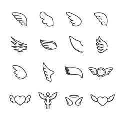 Vector set of wings line icons.