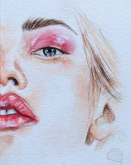 Beautiful fashion woman portrait illustration