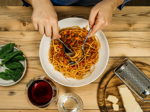 Plate of traditional spaghetti bolognese