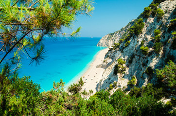 Egremni beach, Lefkada island, Greece. Large and long beach with turquoise water on the island of Lefkada in Greece