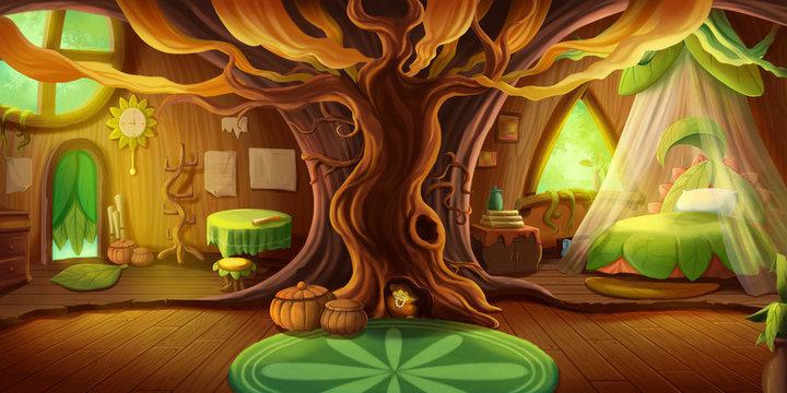 Fairy Tale Cottage Interior. Fiction Children Backdrop. Concept Art. Realistic Illustration. Video Game Digital CG Artwork. House Building Scenery.