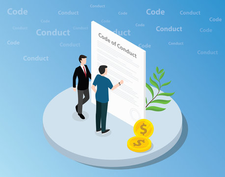 isometric code of conduct concept with business man standing together on front of text and reading - vector