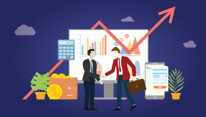 b2b business to business marketing deal agreement between two company with some graph and chart statistic data - vector