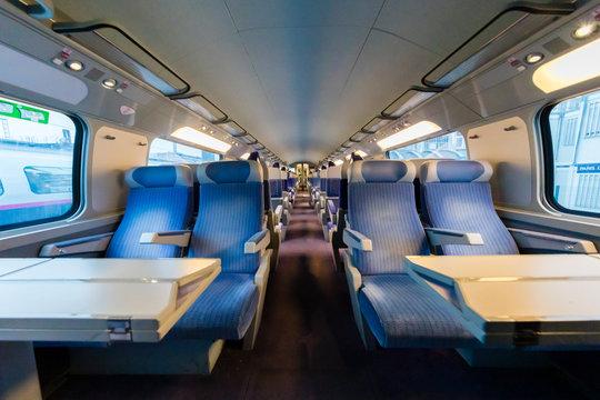 Inside an empty high speed train