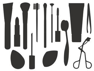 Icon vector set of different makeup tools like brushes, lipstick, sponge, mascara or tweezers
